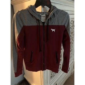 PINK Maroon & Gray zip up jacket